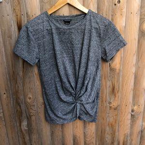 Club Monaco Grey heather front twist shorts sleeves  Top Size XS